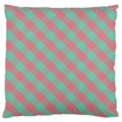 Cross Pink Green Gingham Digital Paper Large Cushion Case (two Sides) by Alisyart