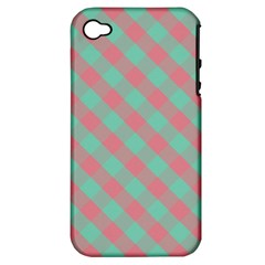 Cross Pink Green Gingham Digital Paper Apple Iphone 4/4s Hardshell Case (pc+silicone)