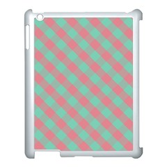 Cross Pink Green Gingham Digital Paper Apple Ipad 3/4 Case (white) by Alisyart