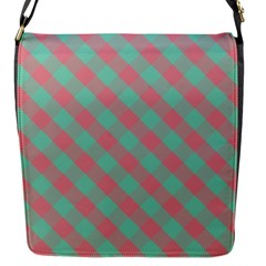 Cross Pink Green Gingham Digital Paper Flap Messenger Bag (s) by Alisyart