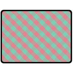 Cross Pink Green Gingham Digital Paper Double Sided Fleece Blanket (large)