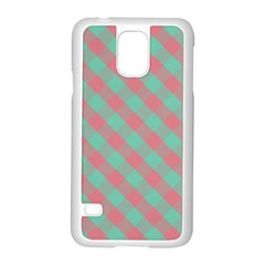 Cross Pink Green Gingham Digital Paper Samsung Galaxy S5 Case (white)