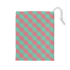 Cross Pink Green Gingham Digital Paper Drawstring Pouches (large)  by Alisyart