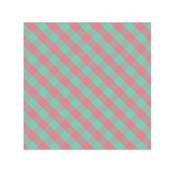 Cross Pink Green Gingham Digital Paper Small Satin Scarf (square)