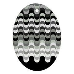 Chevron Wave Triangle Waves Grey Black Ornament (oval)