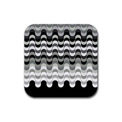 Chevron Wave Triangle Waves Grey Black Rubber Square Coaster (4 Pack)  by Alisyart