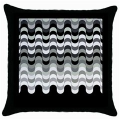 Chevron Wave Triangle Waves Grey Black Throw Pillow Case (black)