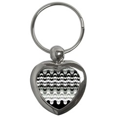 Chevron Wave Triangle Waves Grey Black Key Chains (heart)
