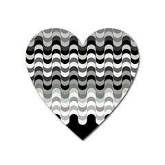 Chevron Wave Triangle Waves Grey Black Heart Magnet by Alisyart