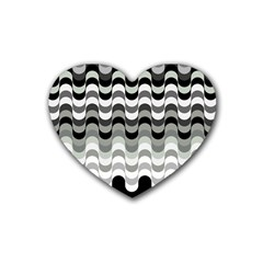 Chevron Wave Triangle Waves Grey Black Heart Coaster (4 Pack)  by Alisyart