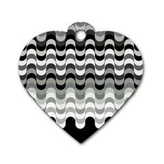 Chevron Wave Triangle Waves Grey Black Dog Tag Heart (one Side)