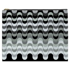 Chevron Wave Triangle Waves Grey Black Cosmetic Bag (xxxl)  by Alisyart