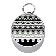 Chevron Wave Triangle Waves Grey Black Mini Silver Compasses by Alisyart