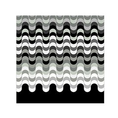Chevron Wave Triangle Waves Grey Black Small Satin Scarf (square)