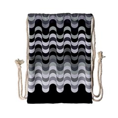 Chevron Wave Triangle Waves Grey Black Drawstring Bag (small) by Alisyart