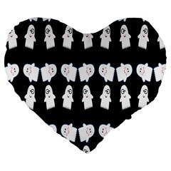 Cute Ghost Pattern Large 19  Premium Flano Heart Shape Cushions by Simbadda