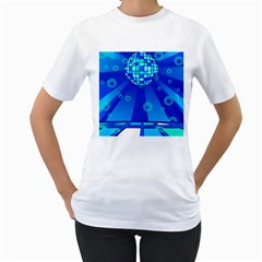 Disco Ball Retina Blue Circle Light Women s T Shirt (white) (two Sided)