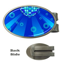 Disco Ball Retina Blue Circle Light Money Clips (oval)  by Alisyart