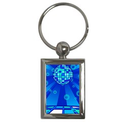 Disco Ball Retina Blue Circle Light Key Chains (rectangle)  by Alisyart