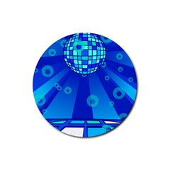 Disco Ball Retina Blue Circle Light Rubber Round Coaster (4 Pack)