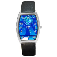 Disco Ball Retina Blue Circle Light Barrel Style Metal Watch by Alisyart