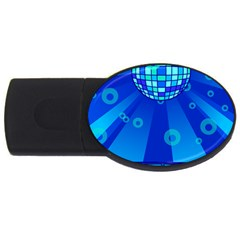 Disco Ball Retina Blue Circle Light Usb Flash Drive Oval (4 Gb)