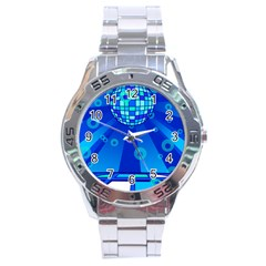 Disco Ball Retina Blue Circle Light Stainless Steel Analogue Watch by Alisyart