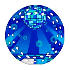 Disco Ball Retina Blue Circle Light Round Filigree Ornament (two Sides) by Alisyart
