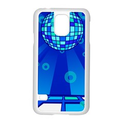Disco Ball Retina Blue Circle Light Samsung Galaxy S5 Case (white)