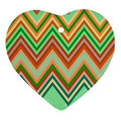 Chevron Wave Color Rainbow Triangle Waves Ornament (heart)