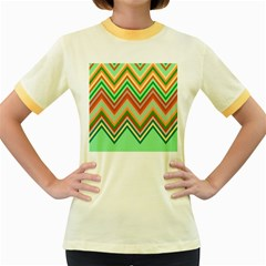 Chevron Wave Color Rainbow Triangle Waves Women s Fitted Ringer T Shirts
