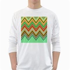 Chevron Wave Color Rainbow Triangle Waves White Long Sleeve T-shirts by Alisyart