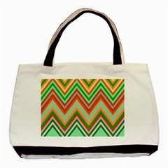 Chevron Wave Color Rainbow Triangle Waves Basic Tote Bag (two Sides) by Alisyart