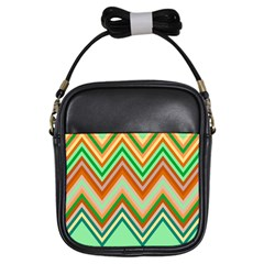 Chevron Wave Color Rainbow Triangle Waves Girls Sling Bags