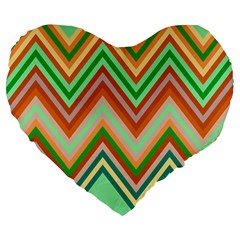Chevron Wave Color Rainbow Triangle Waves Large 19  Premium Heart Shape Cushions