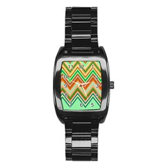 Chevron Wave Color Rainbow Triangle Waves Stainless Steel Barrel Watch by Alisyart