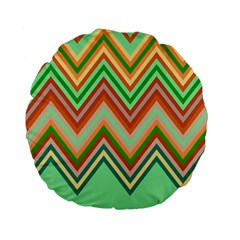 Chevron Wave Color Rainbow Triangle Waves Standard 15  Premium Flano Round Cushions