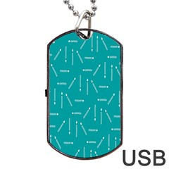 Digital Art Minimalism Abstract Candles Blue Background Fire Dog Tag Usb Flash (one Side) by Simbadda
