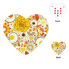 Cute Fall Flower Rose Leaf Star Sunflower Orange Playing Cards (heart)