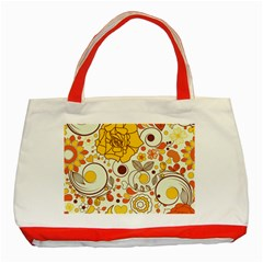 Cute Fall Flower Rose Leaf Star Sunflower Orange Classic Tote Bag (red) by Alisyart