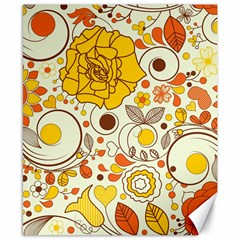 Cute Fall Flower Rose Leaf Star Sunflower Orange Canvas 8  X 10  by Alisyart
