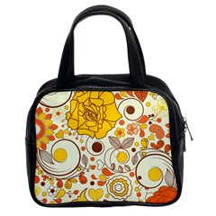 Cute Fall Flower Rose Leaf Star Sunflower Orange Classic Handbags (2 Sides) by Alisyart