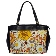 Cute Fall Flower Rose Leaf Star Sunflower Orange Office Handbags by Alisyart