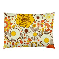 Cute Fall Flower Rose Leaf Star Sunflower Orange Pillow Case (two Sides) by Alisyart