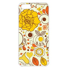 Cute Fall Flower Rose Leaf Star Sunflower Orange Apple Iphone 5 Seamless Case (white) by Alisyart