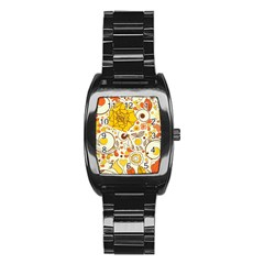 Cute Fall Flower Rose Leaf Star Sunflower Orange Stainless Steel Barrel Watch by Alisyart