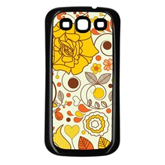 Cute Fall Flower Rose Leaf Star Sunflower Orange Samsung Galaxy S3 Back Case (black) by Alisyart