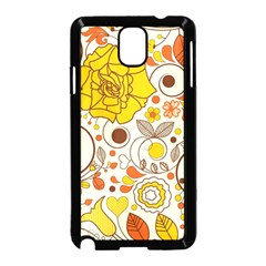 Cute Fall Flower Rose Leaf Star Sunflower Orange Samsung Galaxy Note 3 Neo Hardshell Case (black)