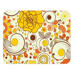 Cute Fall Flower Rose Leaf Star Sunflower Orange Double Sided Flano Blanket (large)  by Alisyart