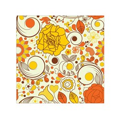 Cute Fall Flower Rose Leaf Star Sunflower Orange Small Satin Scarf (square)
